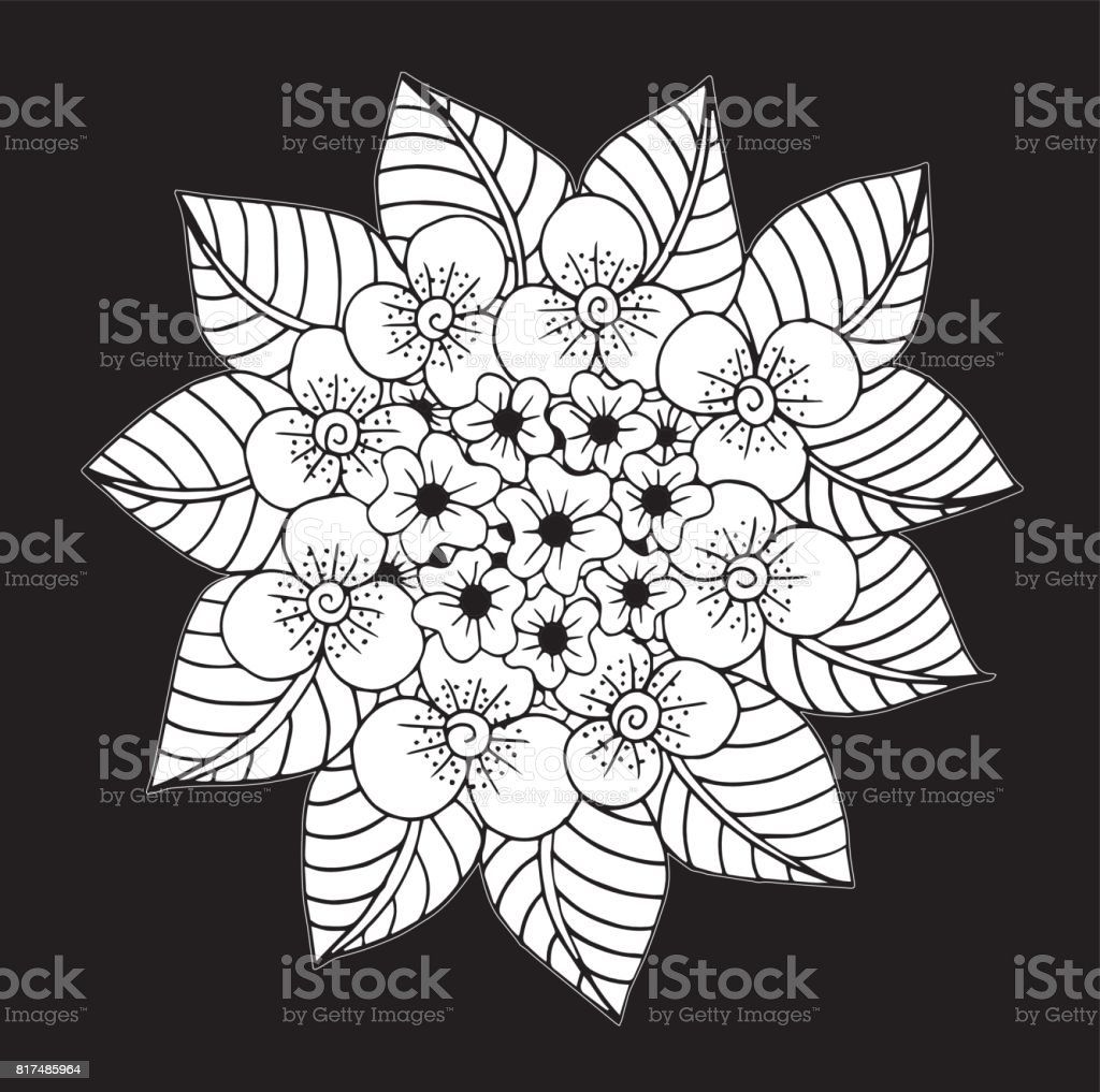 hand drawn floral doodle coloring pages for book illustration