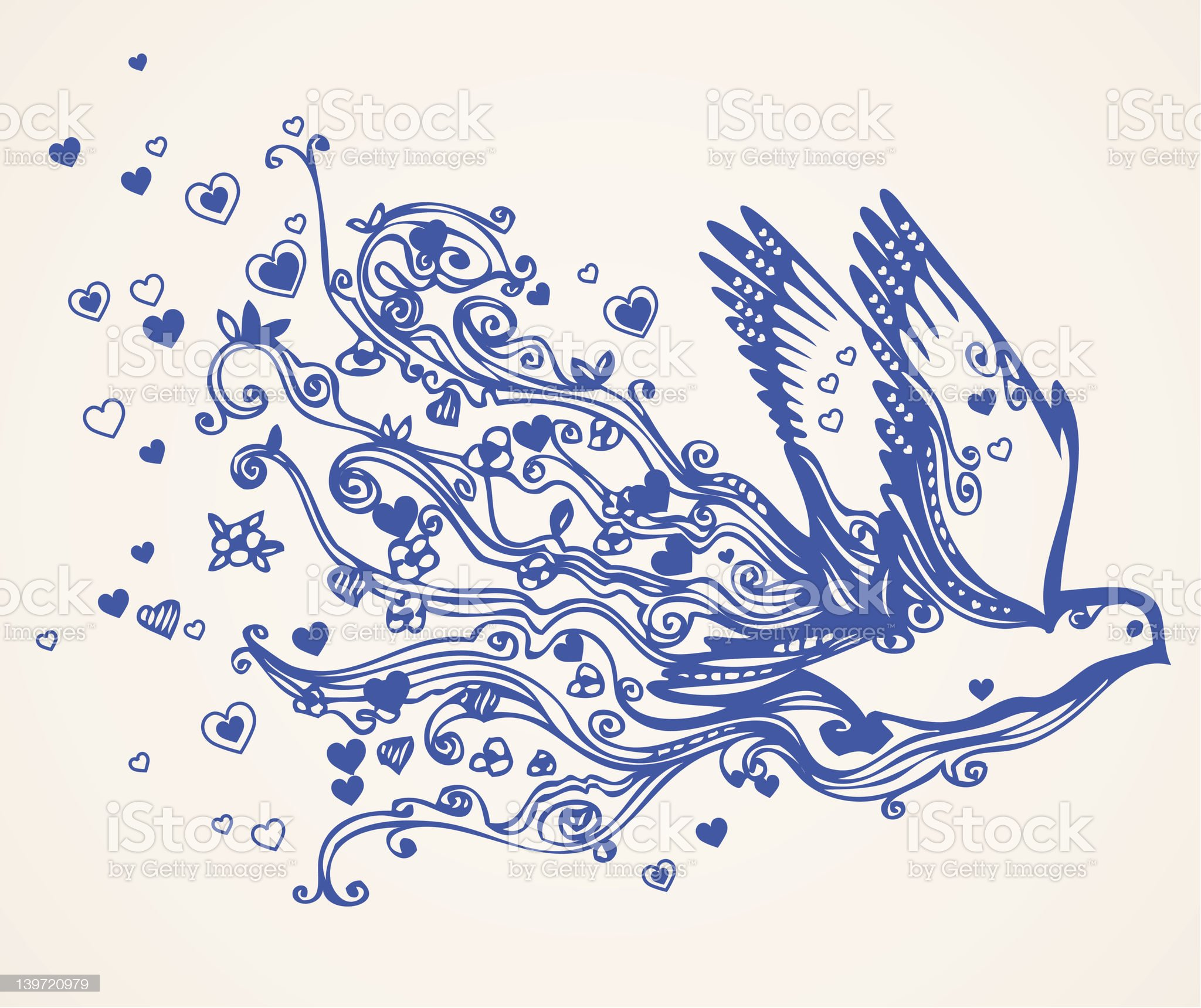 Hand drawn floral flying bird of love and peace royalty-free stock vector art