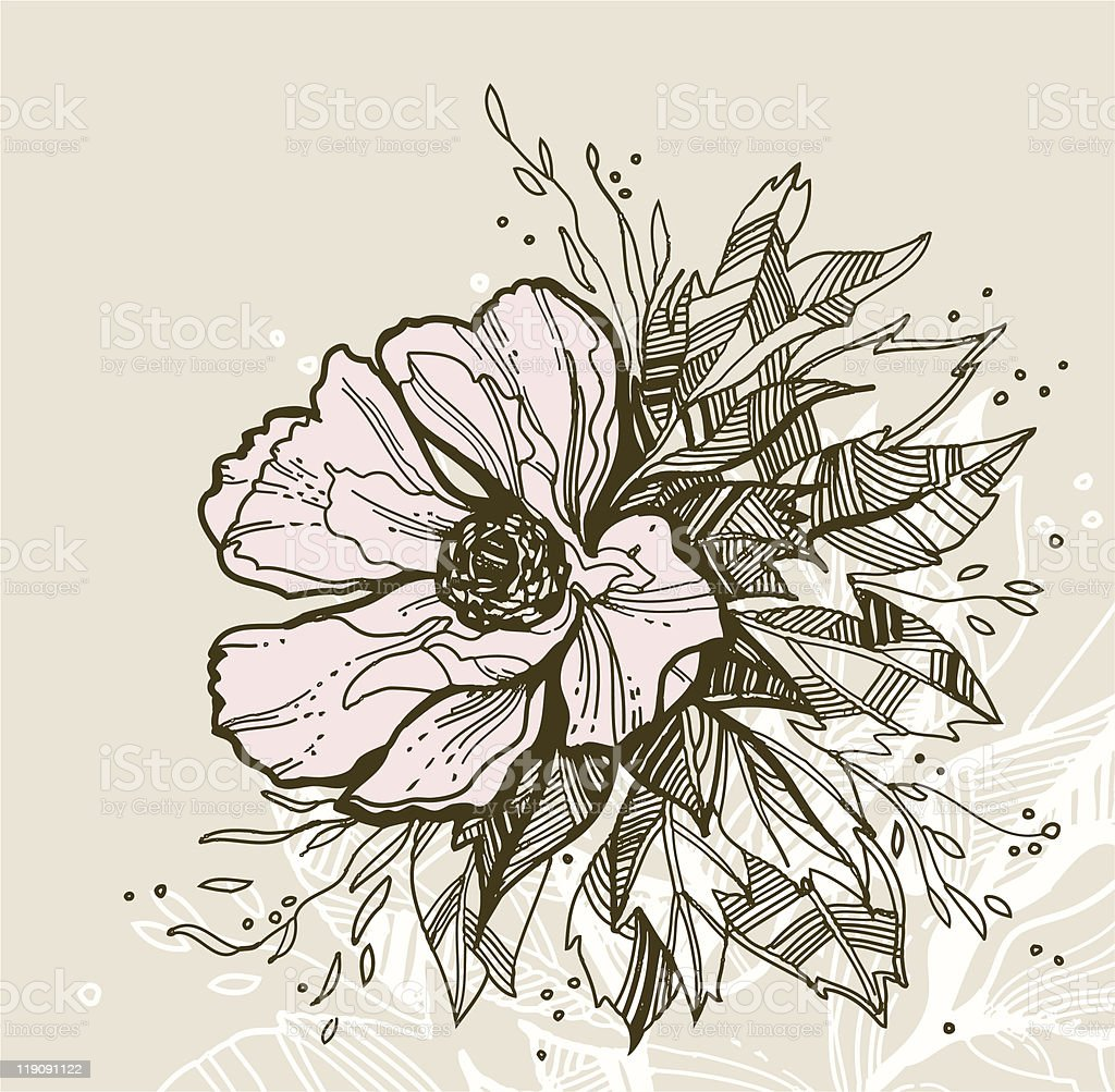 Hand drawn floral greeting card royalty-free stock vector art