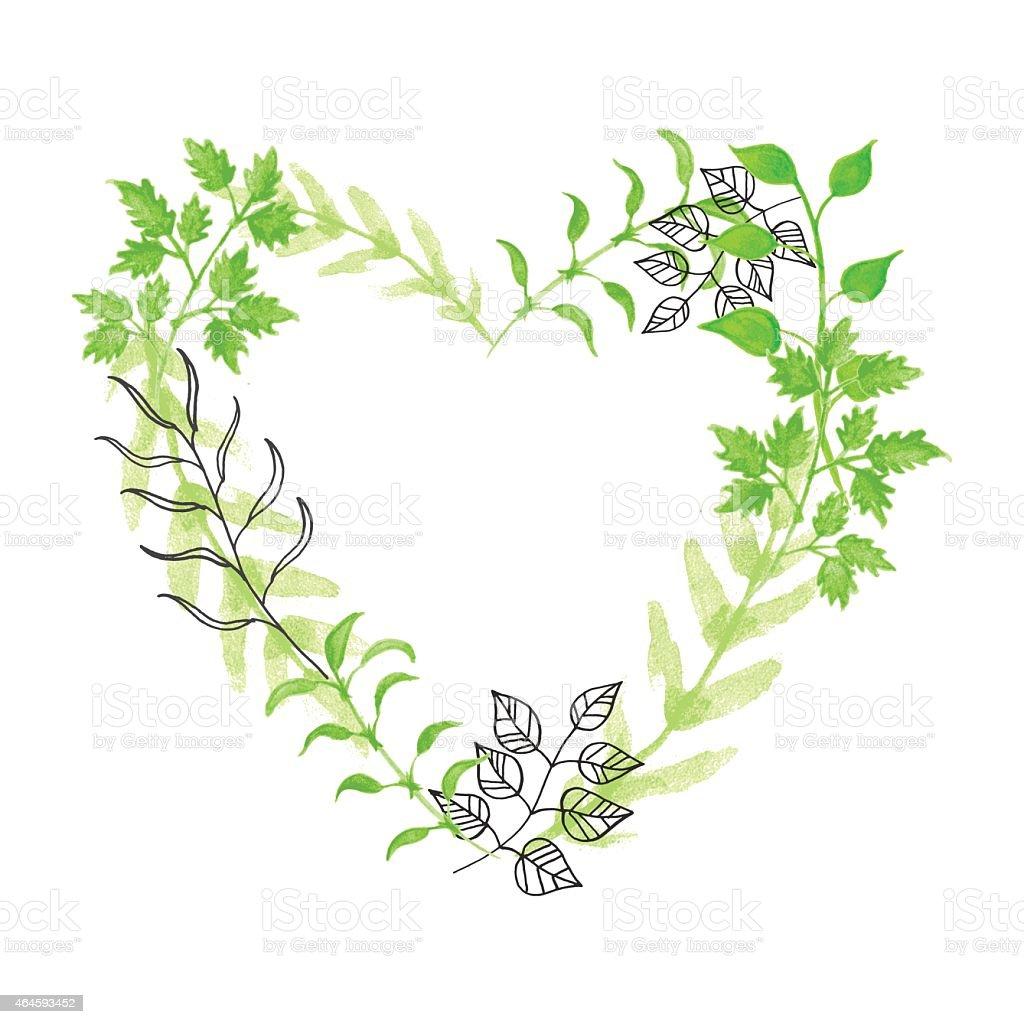 Hand drawn floral heart vector art illustration