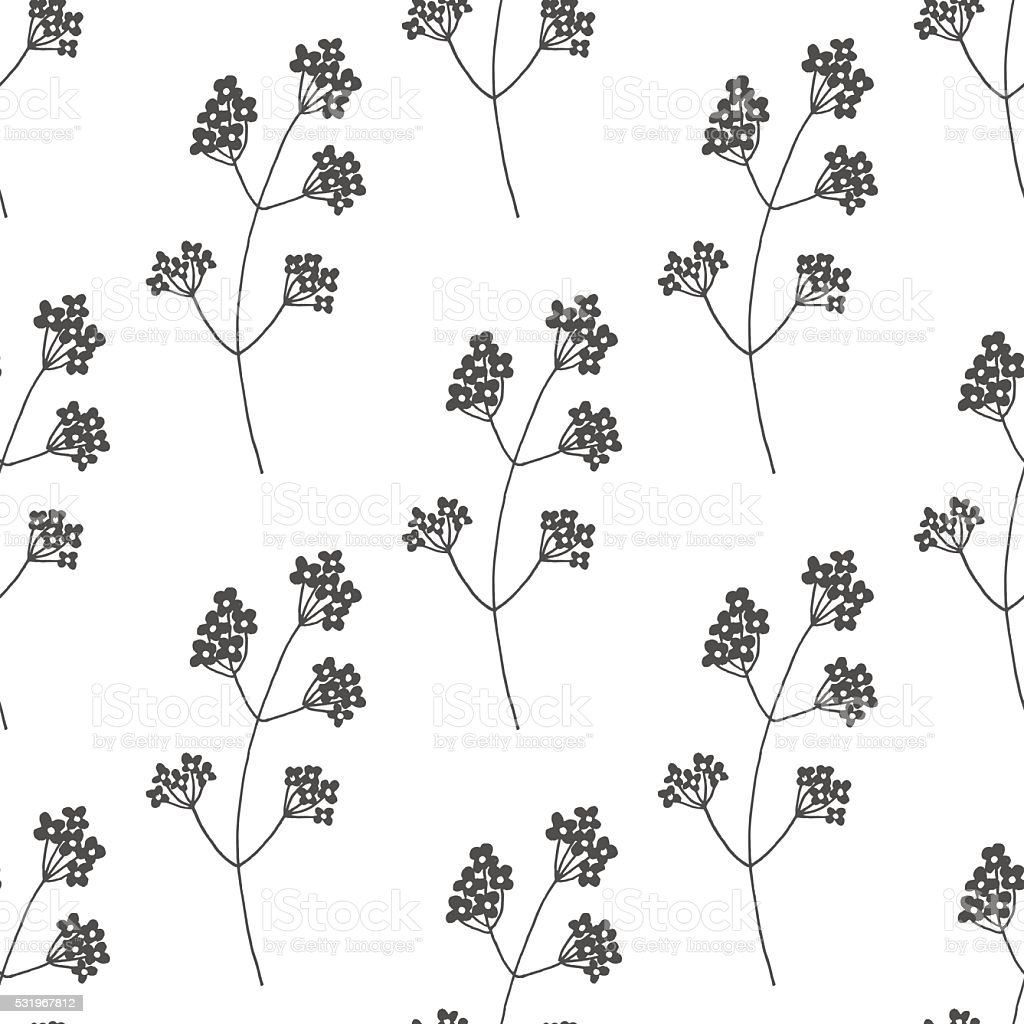 Hand drawn floral seamless pattern vector art illustration
