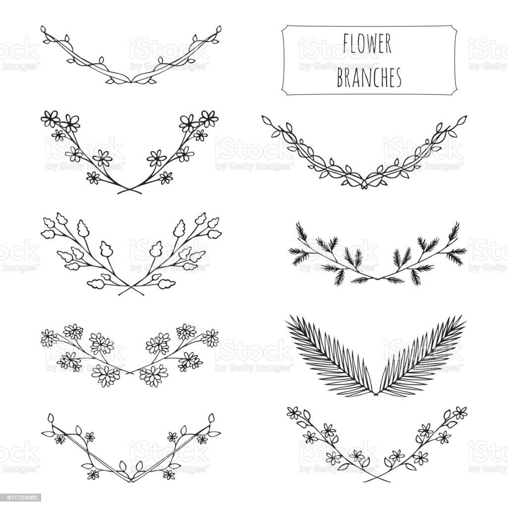 Hand drawn floral set vector art illustration
