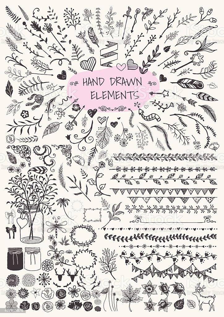 Hand drawn floral vector art illustration