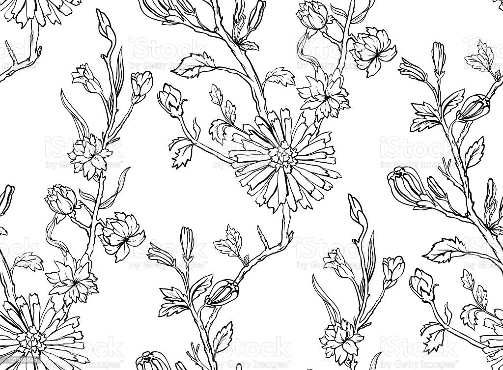 Hand drawn floral wallpaper with set of different flowers. royalty-free stock vector art