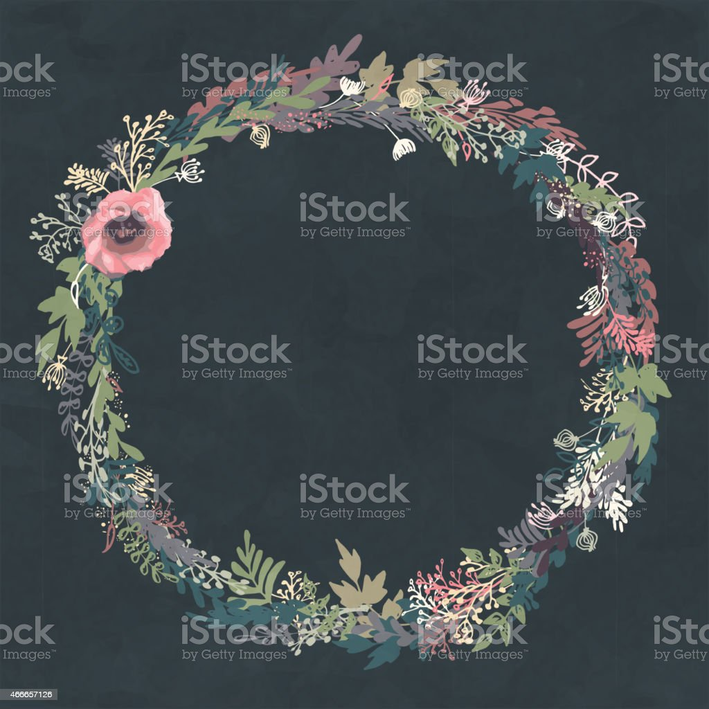 Hand drawn floral wreath vector art illustration