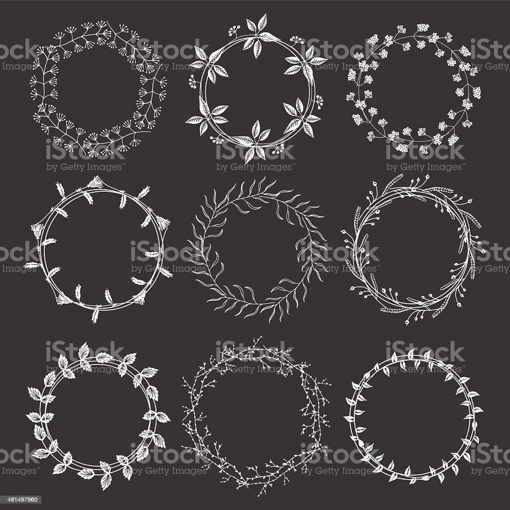 Hand drawn floral wreaths vector art illustration