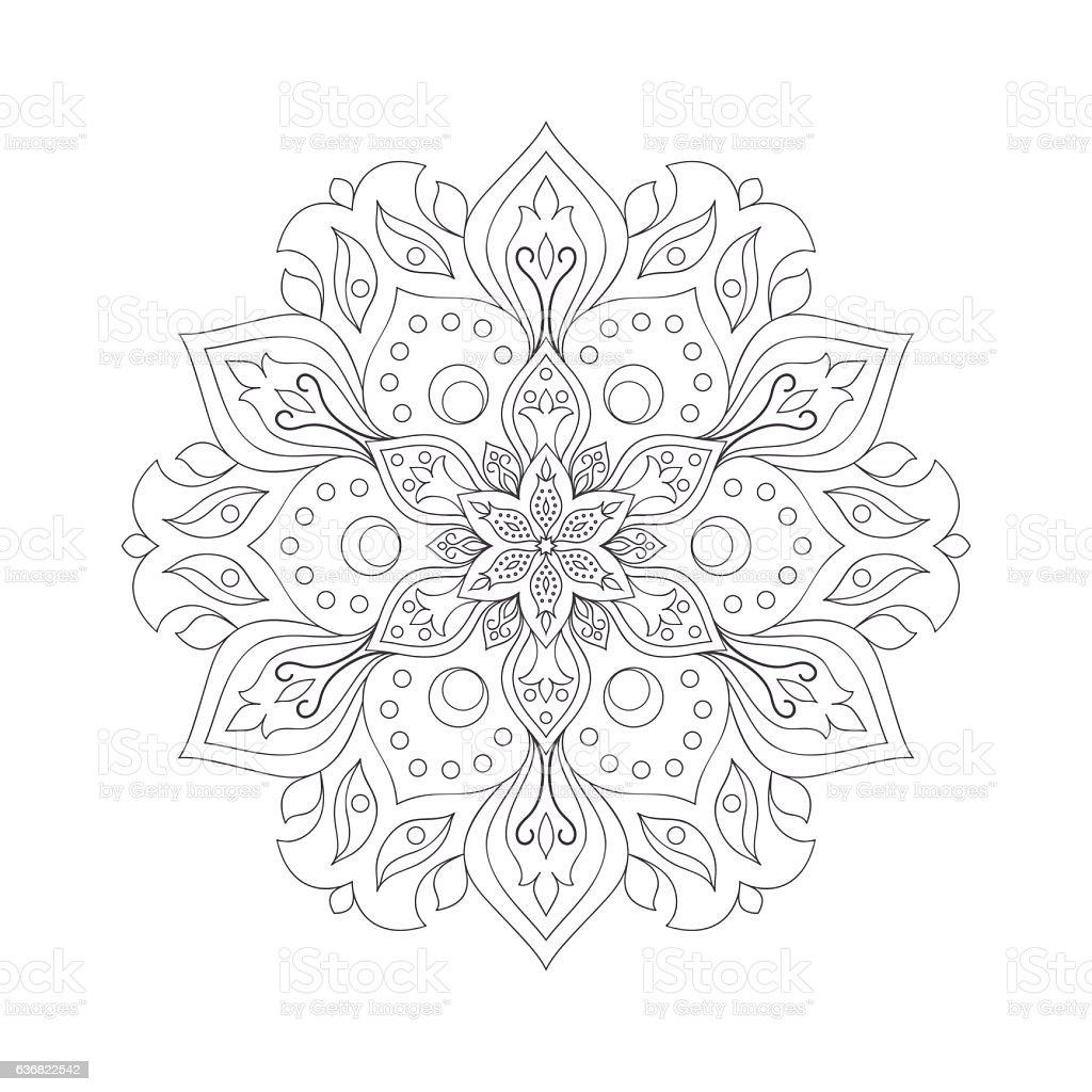 Hand drawn flower mandala for coloring book. vector art illustration