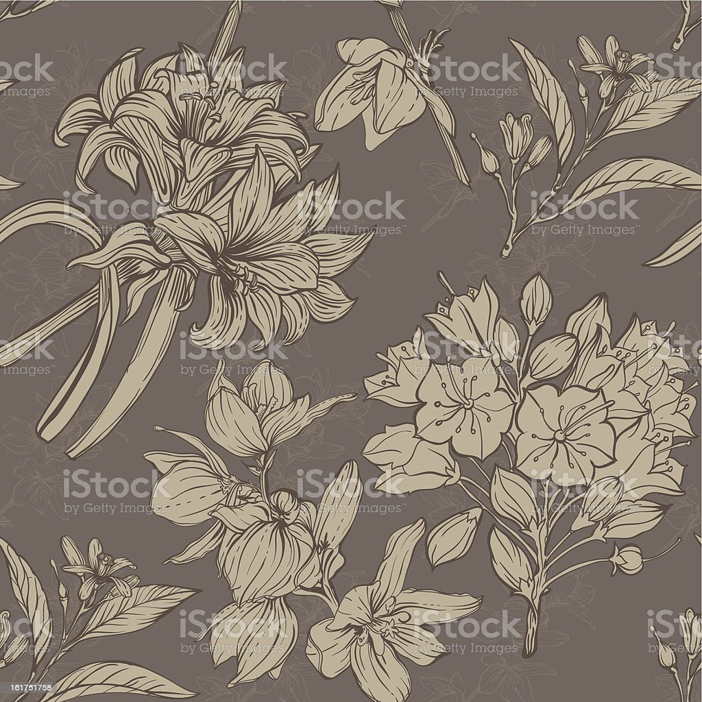 hand drawn flowers pattern royalty-free stock vector art