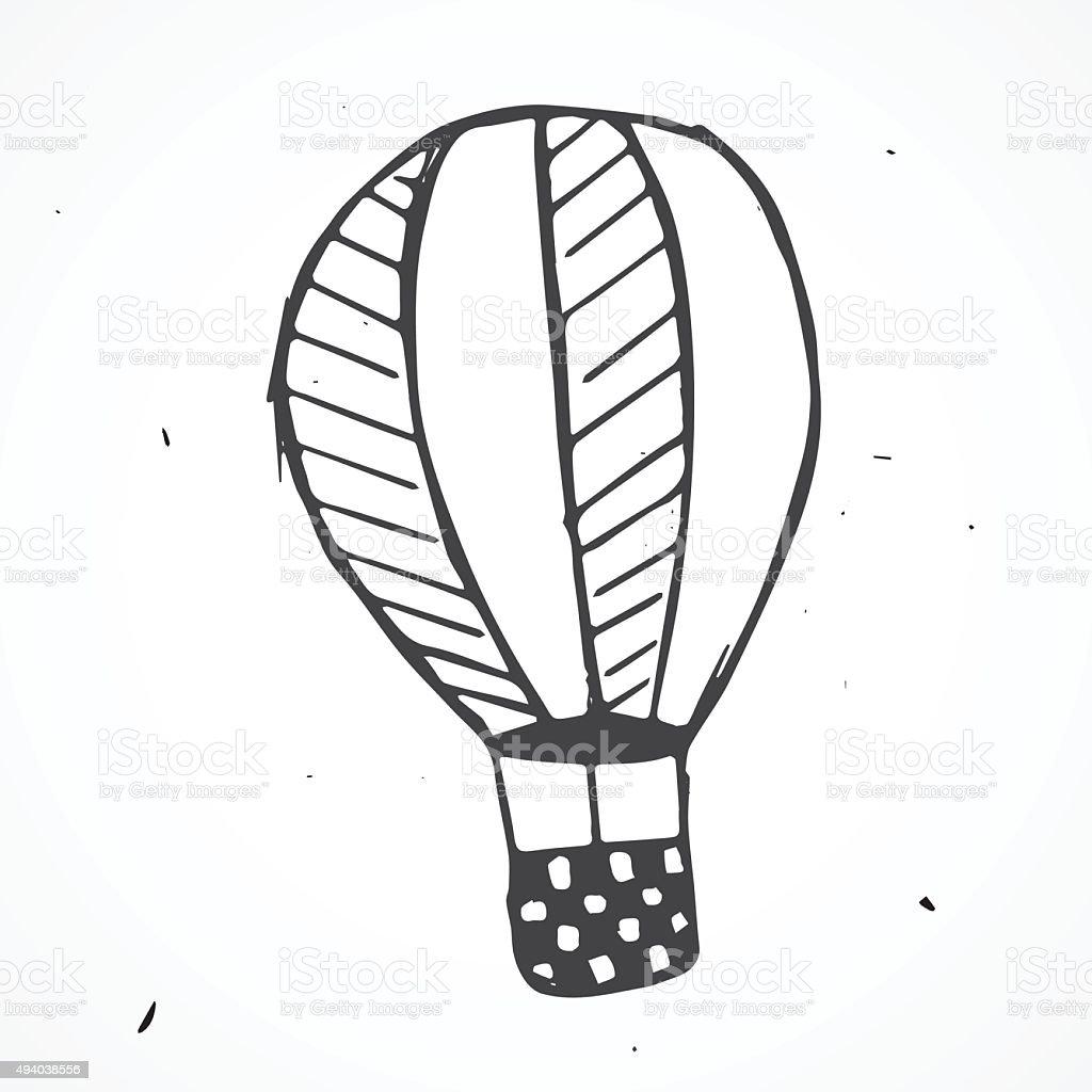 Hand drawn Flying Balloon, vector vector art illustration