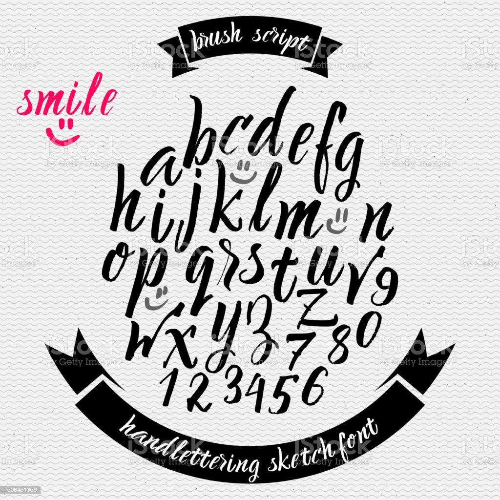 Hand drawn font handwriting brush vector art illustration