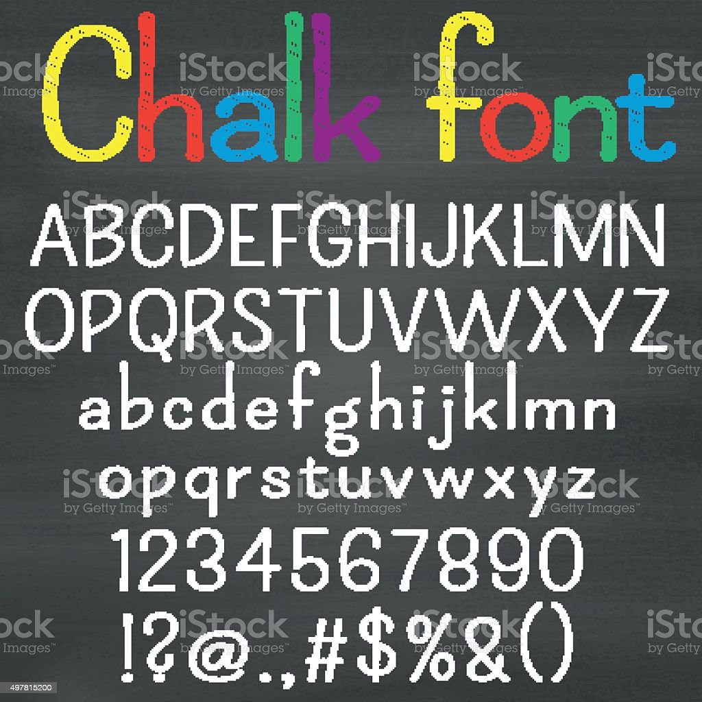 Hand drawn font on chalk background vector art illustration