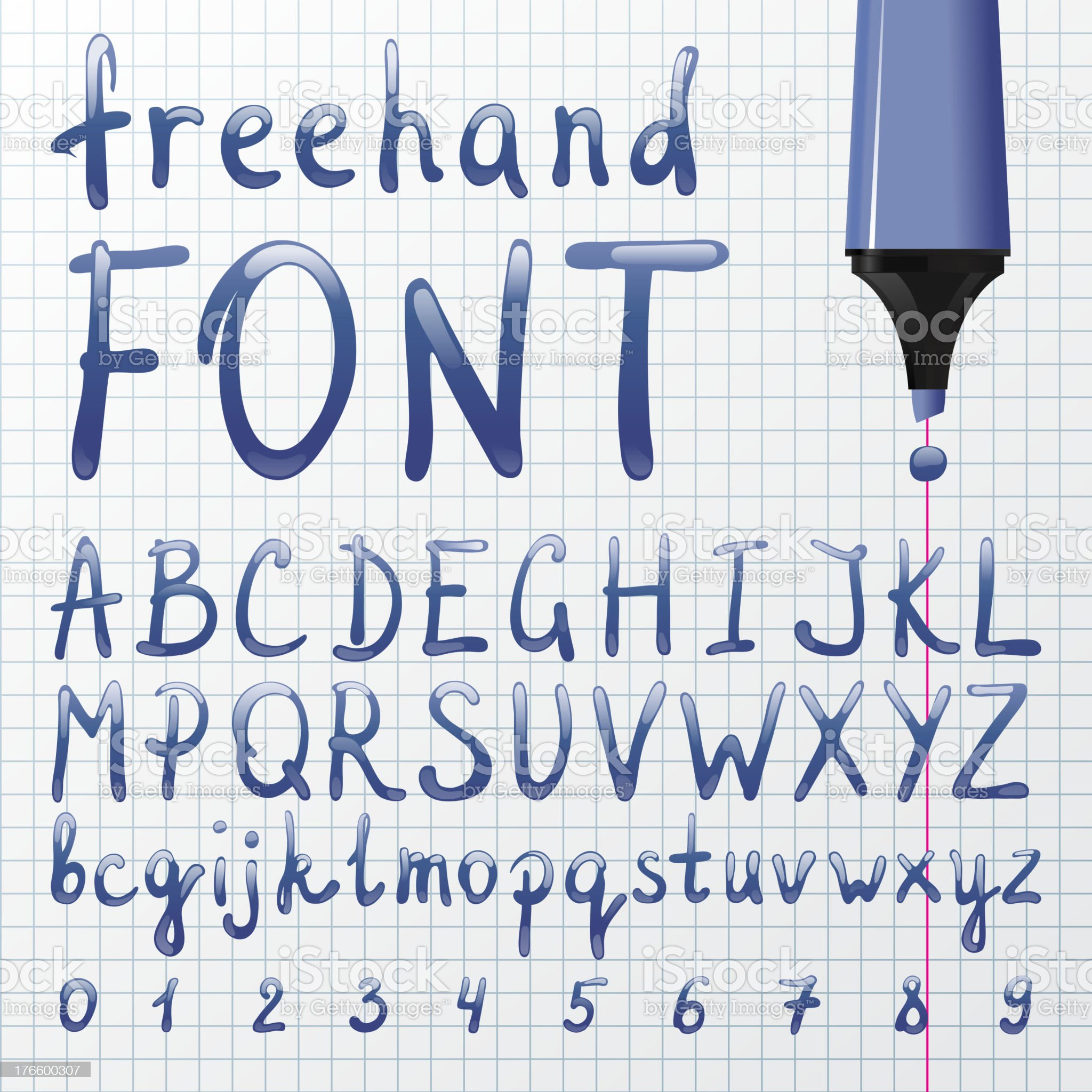 Hand drawn font royalty-free stock vector art