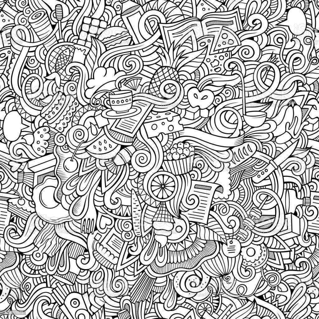 hand drawn food seamless pattern vector art illustration