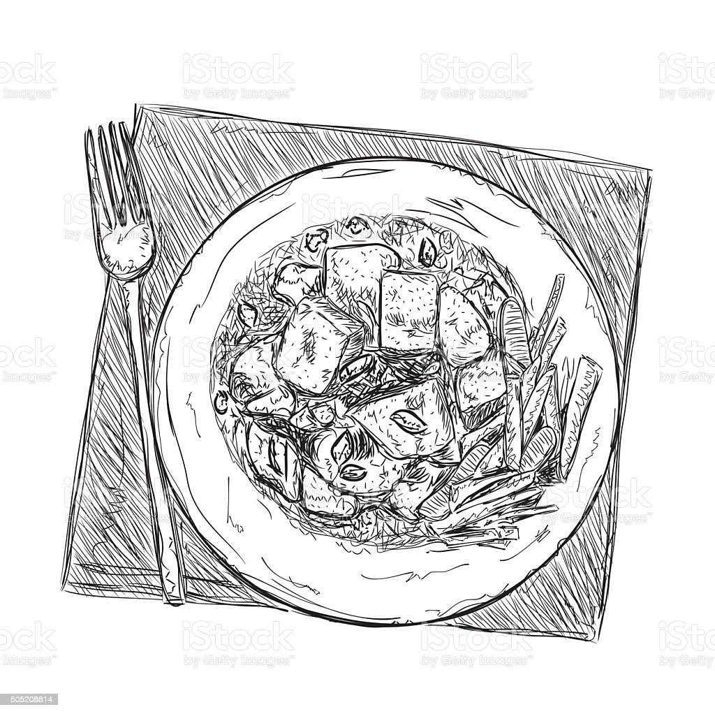 Hand drawn food sketch vector art illustration