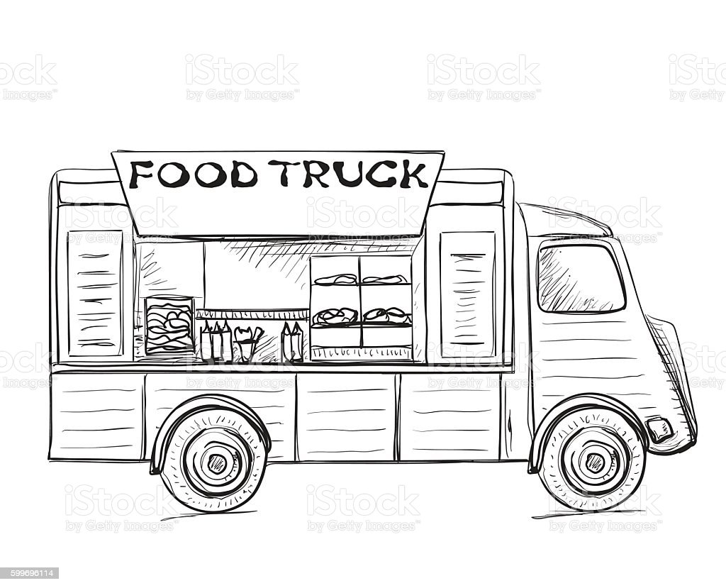 Hand drawn food truck. vector art illustration