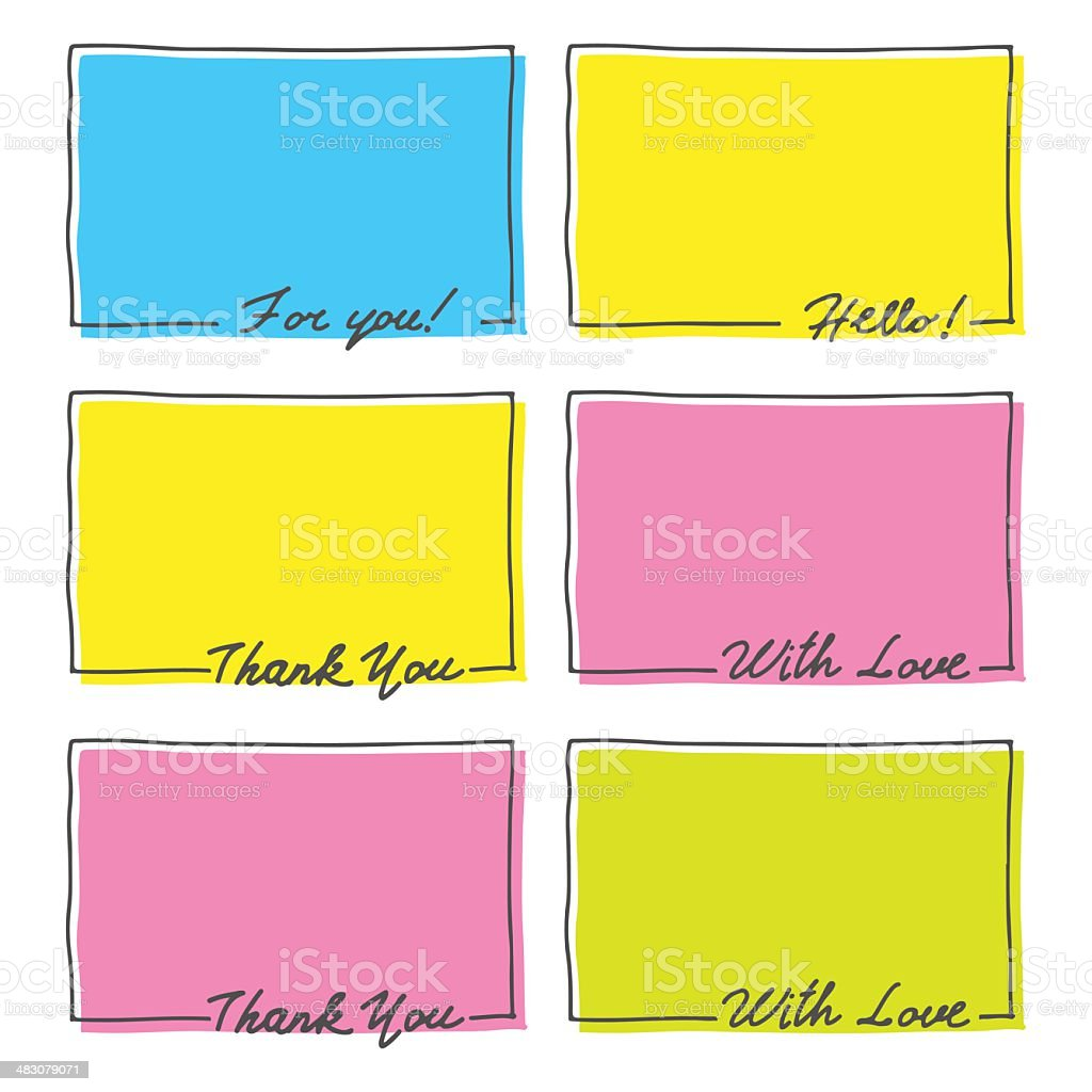 Hand Drawn Frame Set. Thank You, With Love, Hello vector art illustration