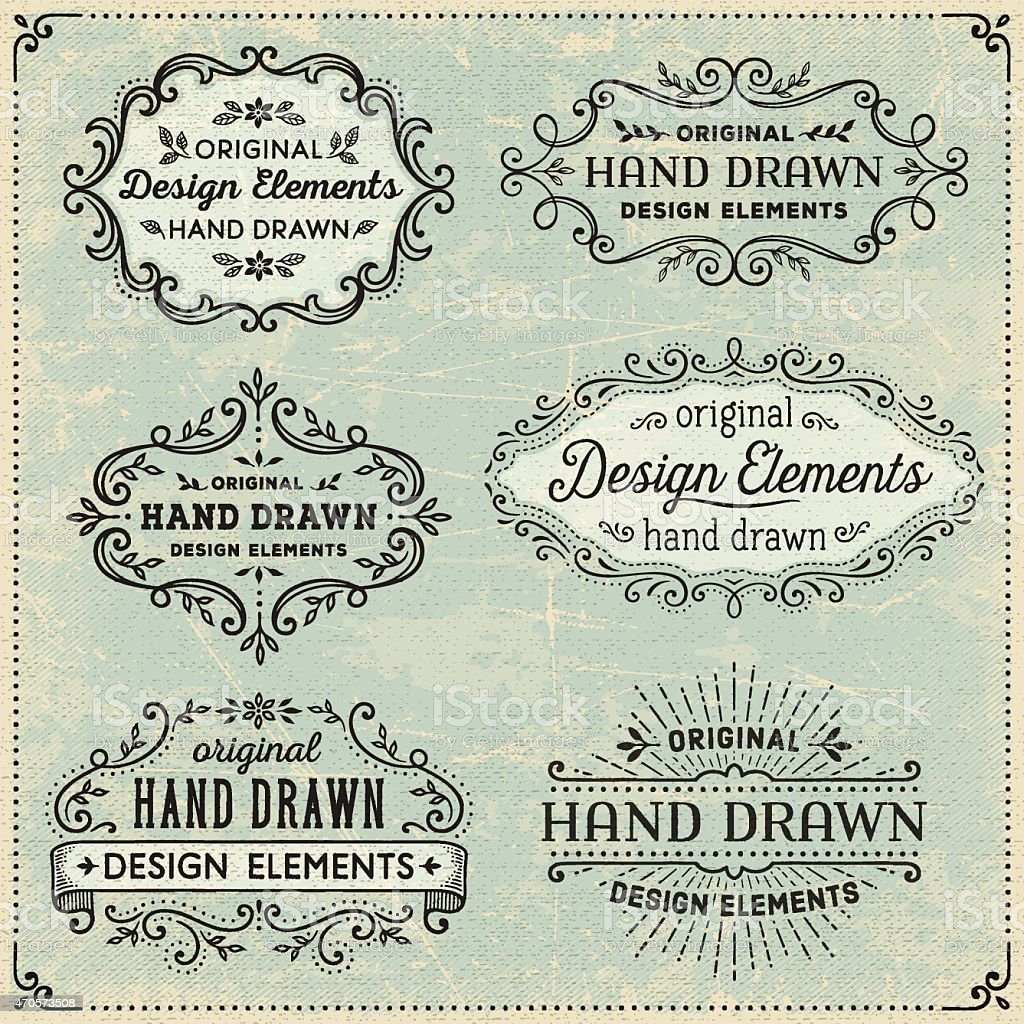 Hand Drawn Frames and Banners vector art illustration
