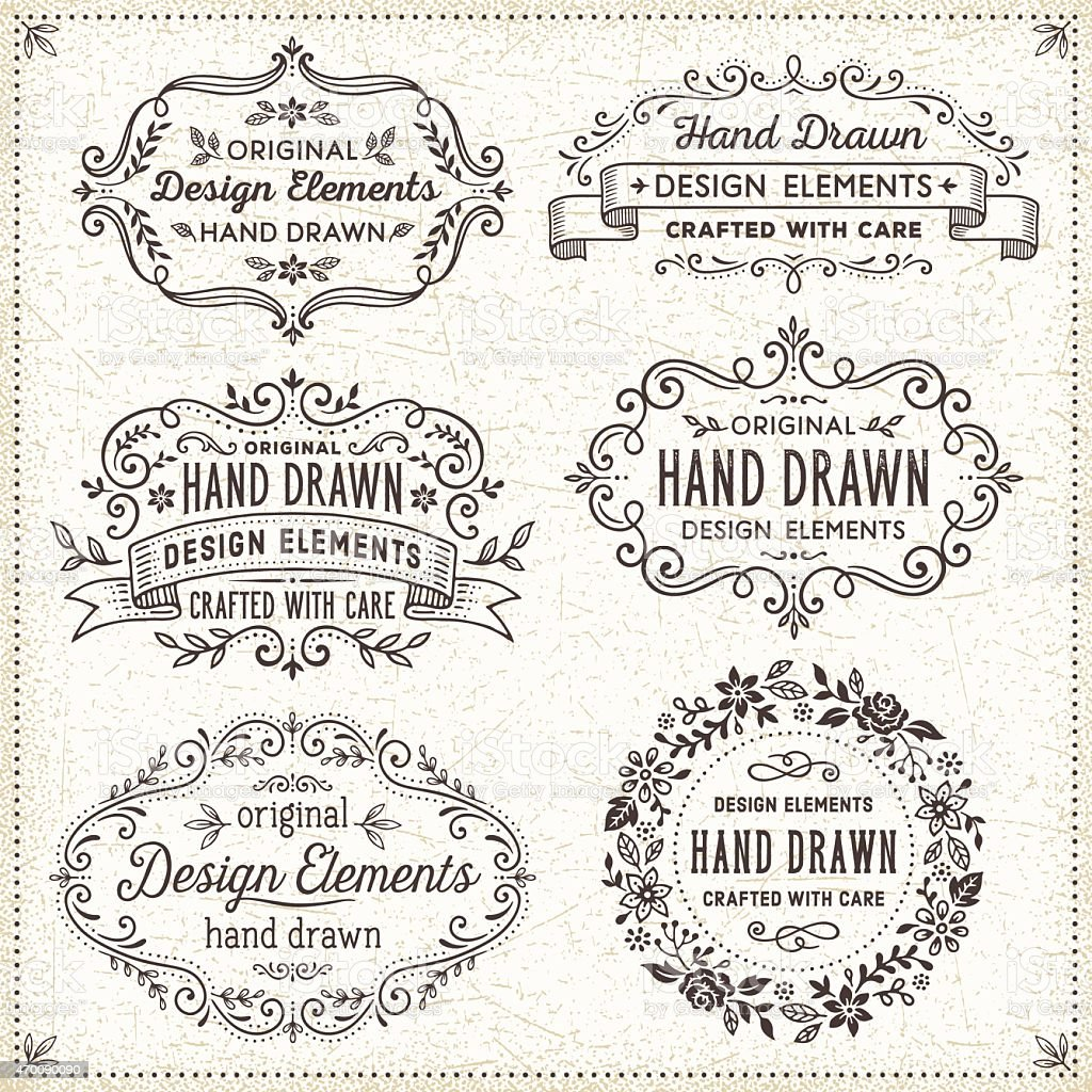 Hand Drawn Frames and Floral Wreath vector art illustration