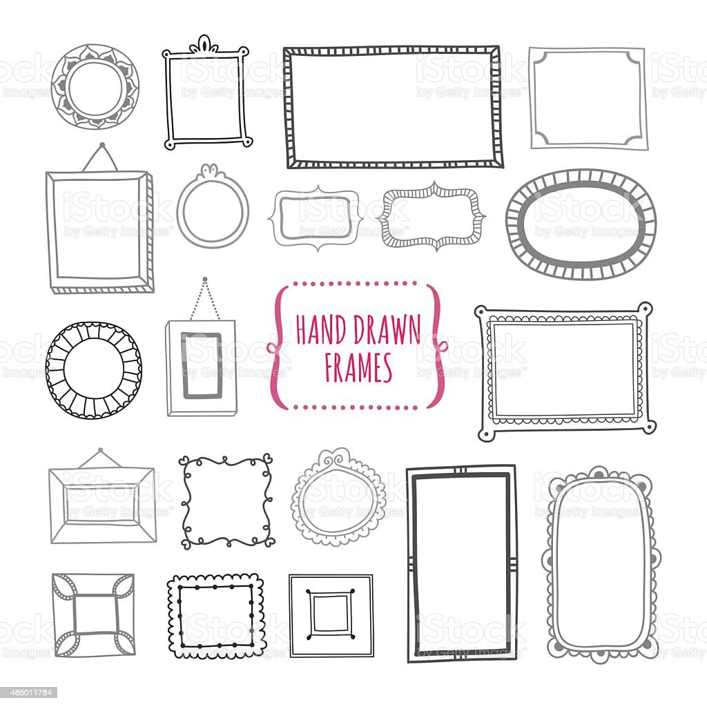 Hand drawn frames design elements for decoration in vector vector art illustration