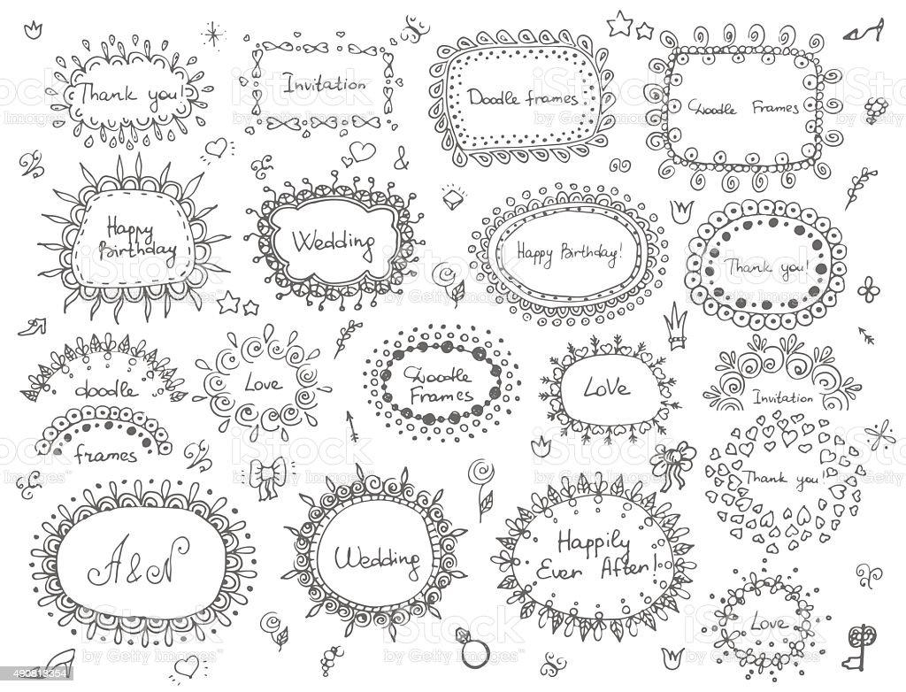 Hand drawn frames vector art illustration