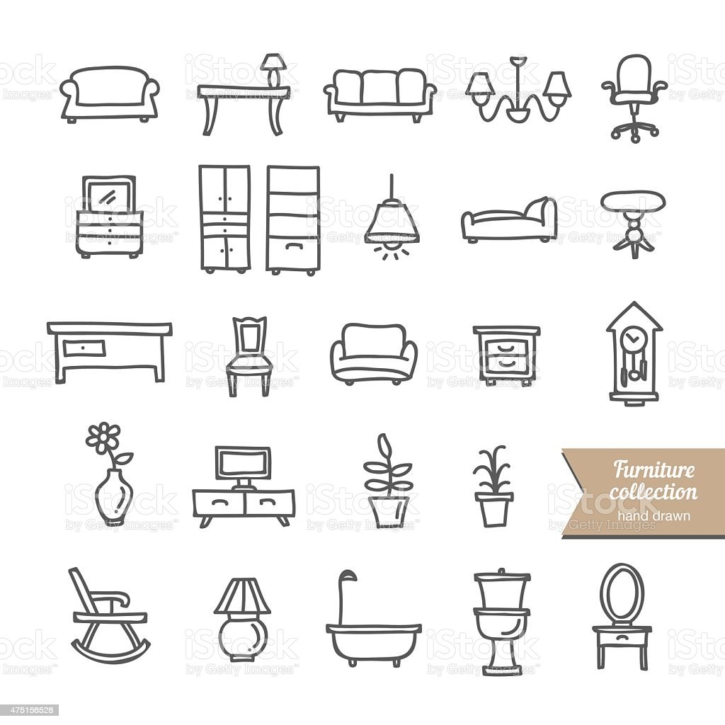 Hand drawn furniture and interior icons and objects vector art illustration