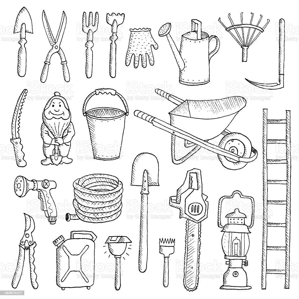 Hand drawn garden tools spring gardening sketch stock for Gardening tools drawing