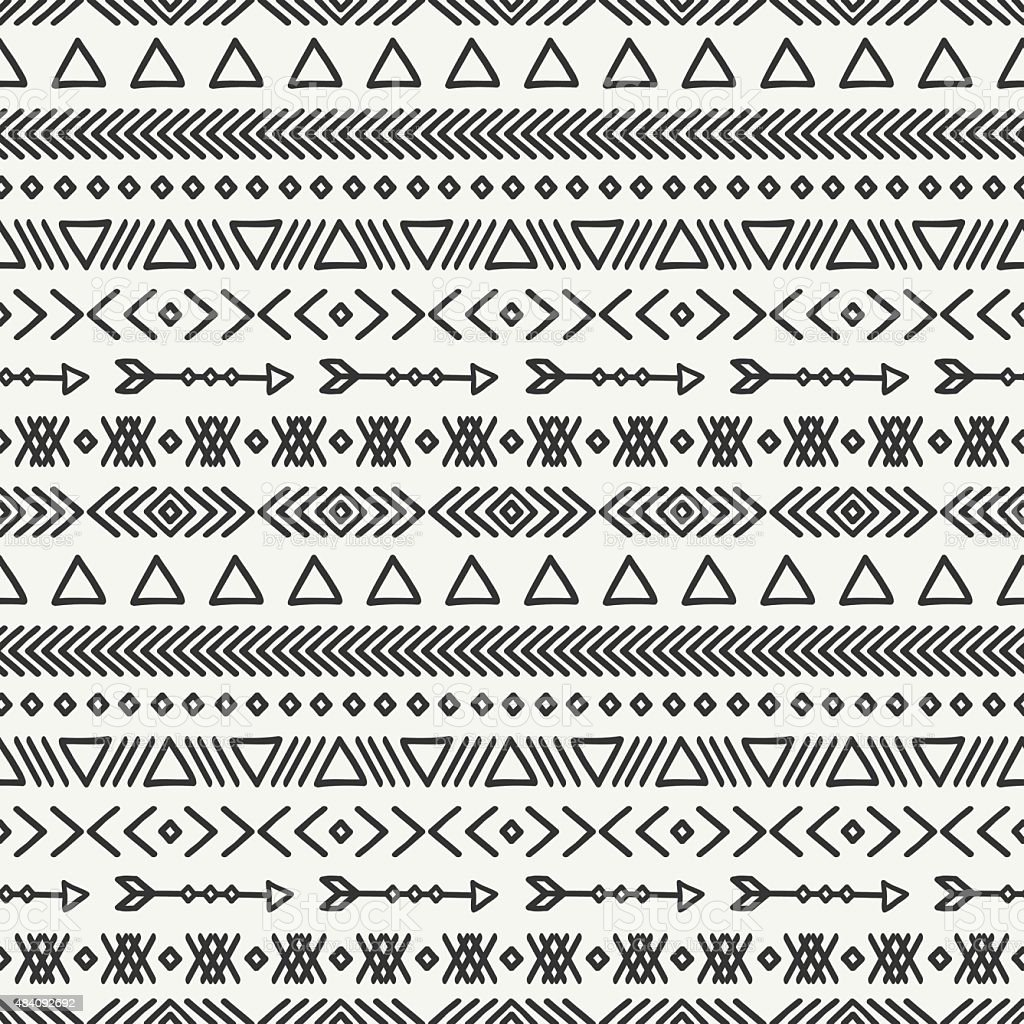 Hand drawn geometric ethnic seamless pattern. Doodles style.Tribal native vector. vector art illustration