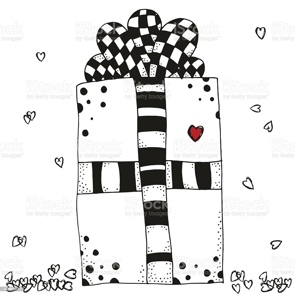 Hand drawn gift box and hearts  in vector. vector art illustration