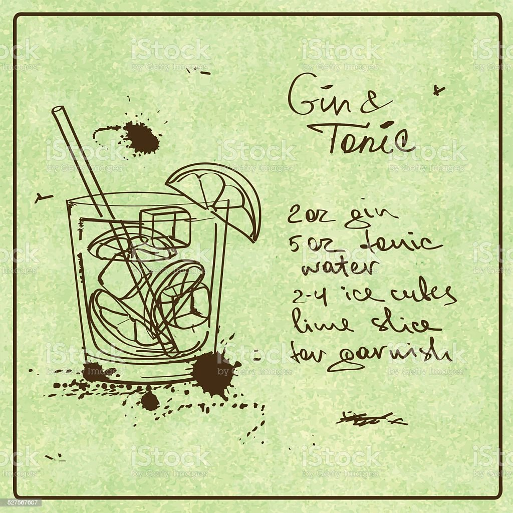 Hand drawn Gin and Tonic cocktail vector art illustration
