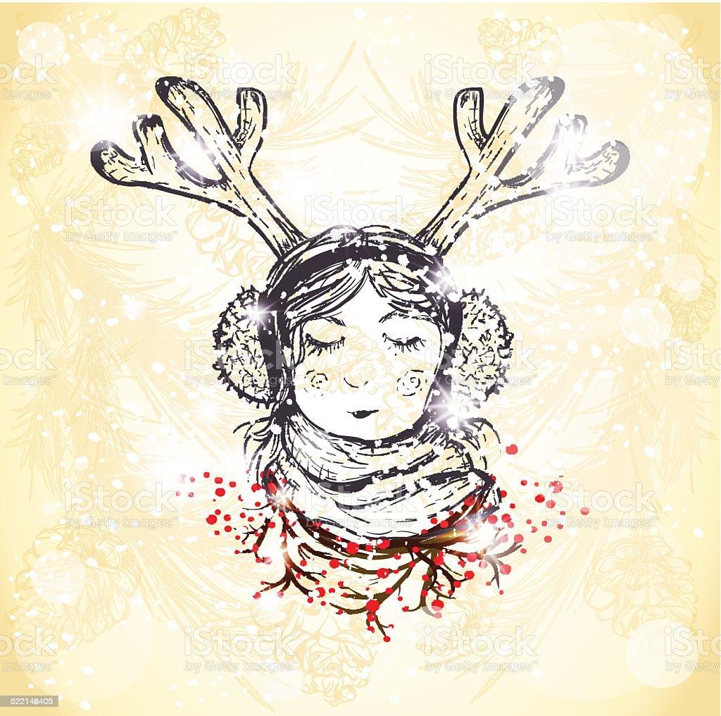 hand drawn girl with horns winter portrait vector art illustration