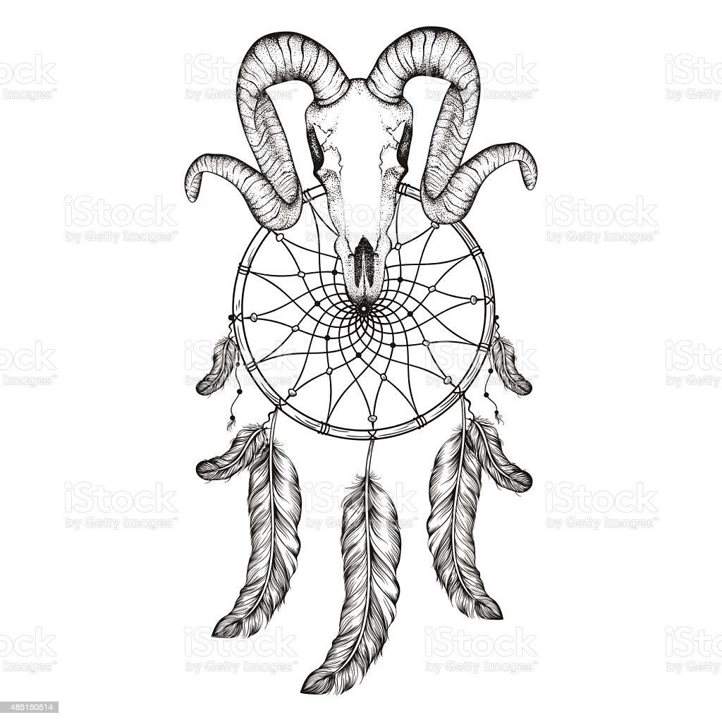 Hand Drawn goat skull doodle vector illustration. Dotwork fullfa vector art illustration
