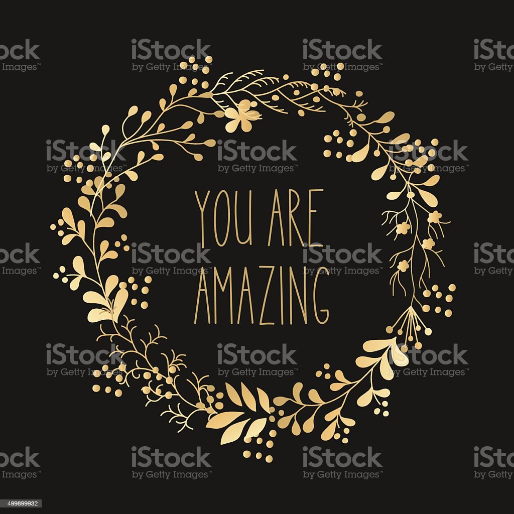 Hand drawn gold flowers wreath. vector art illustration