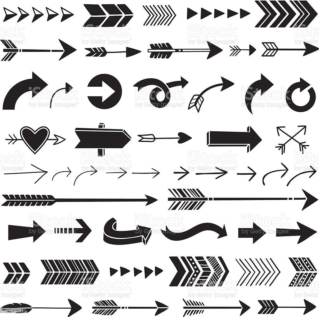 Hand Drawn Graphic Arrows vector art illustration