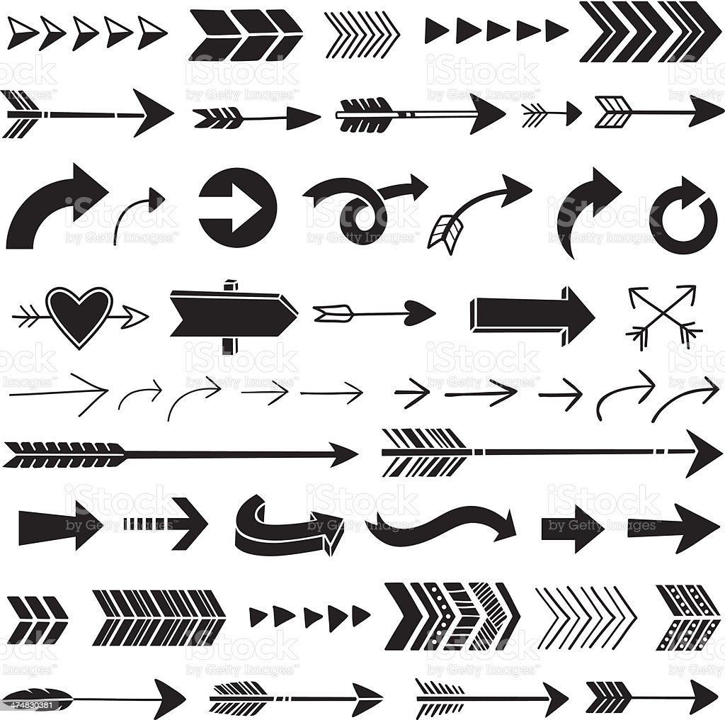Hand Drawn Graphic Arrows vector art illustration