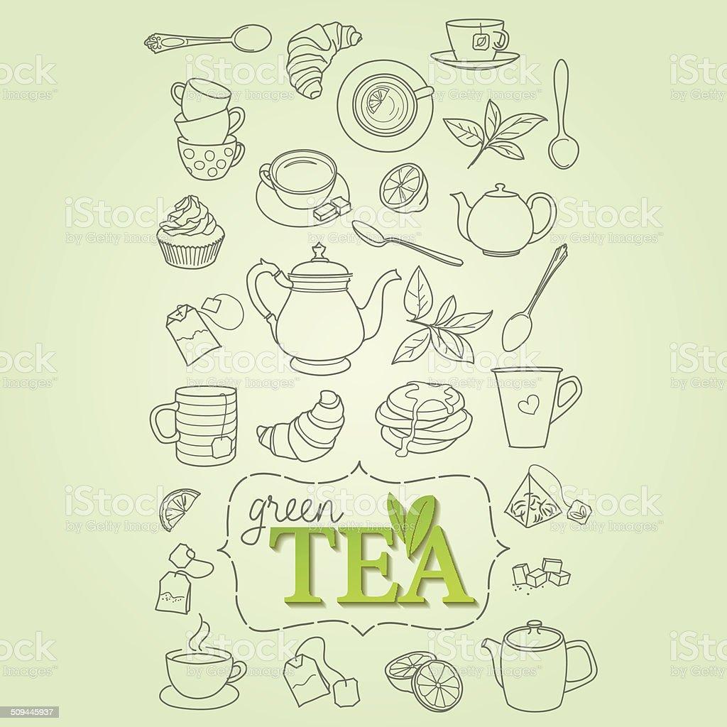 Mão desenho doodle vetor de conceito de chá verde vetor e ilustração royalty-free royalty-free