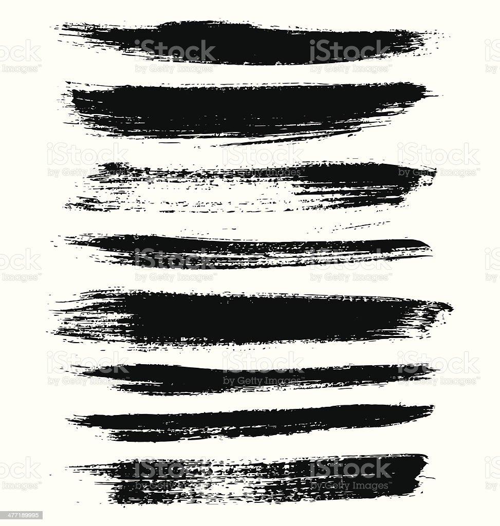 Hand Drawn Grunge Design Elements and Brush Strokes vector art illustration