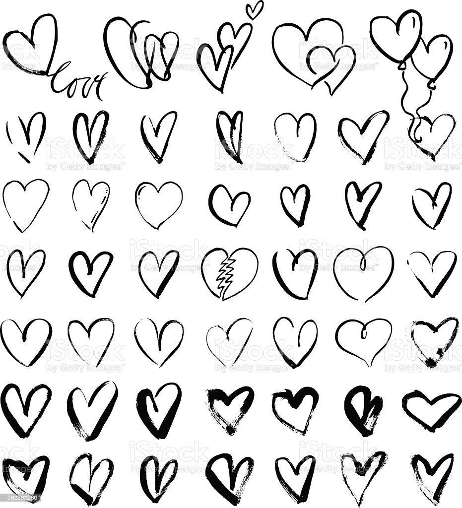 Hand drawn grunge hearts vector art illustration