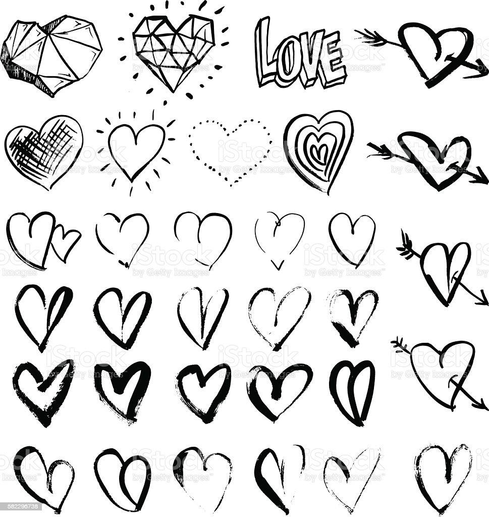 Hand drawn grunge hearts vector art illustration