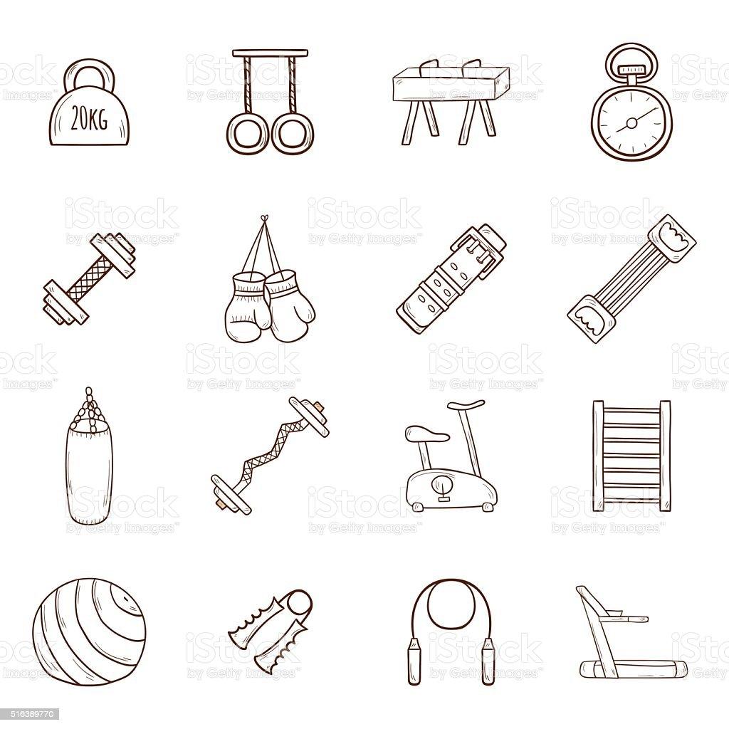Hand drawn gym icons vector art illustration