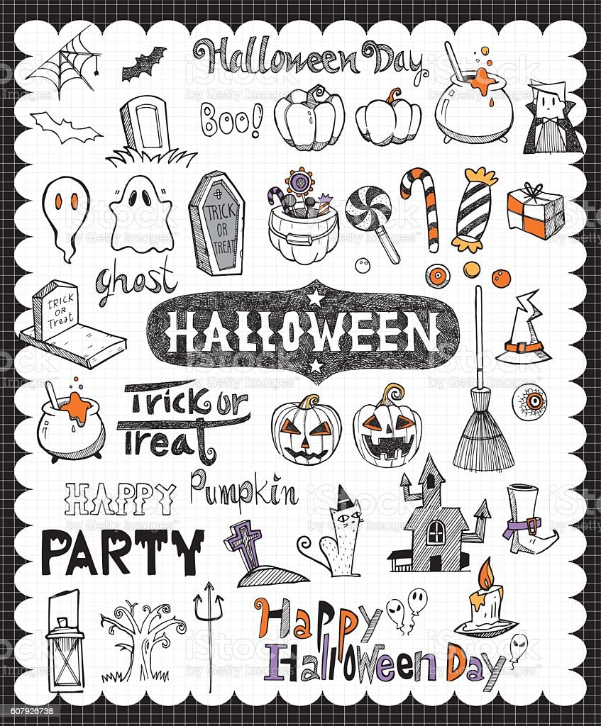 Hand drawn Halloween day vector art illustration