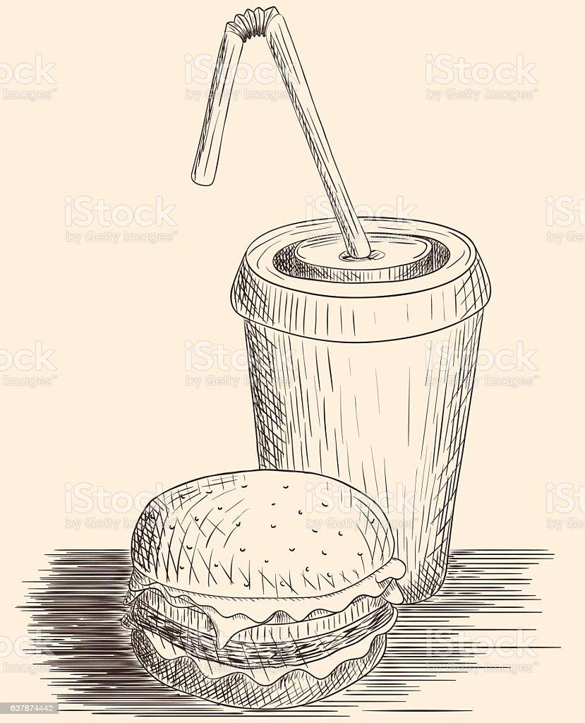 Hand drawn hamburger and cola vector art illustration