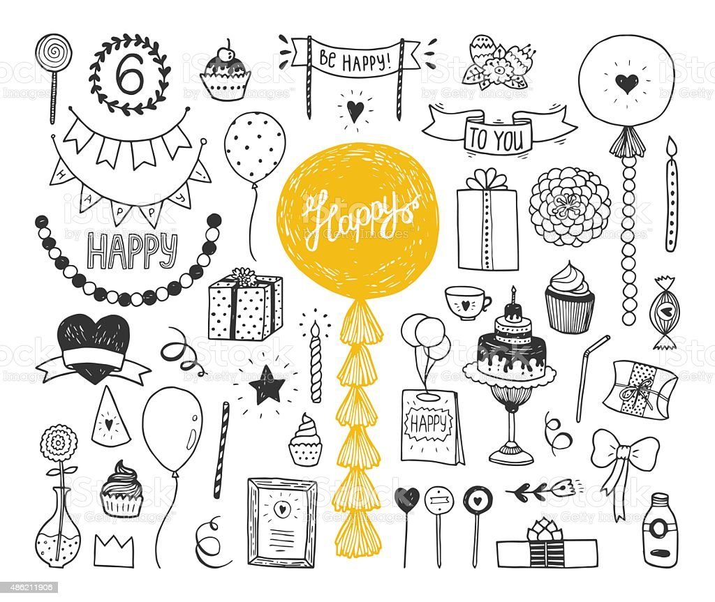Hand drawn Happy birthday collection vector art illustration