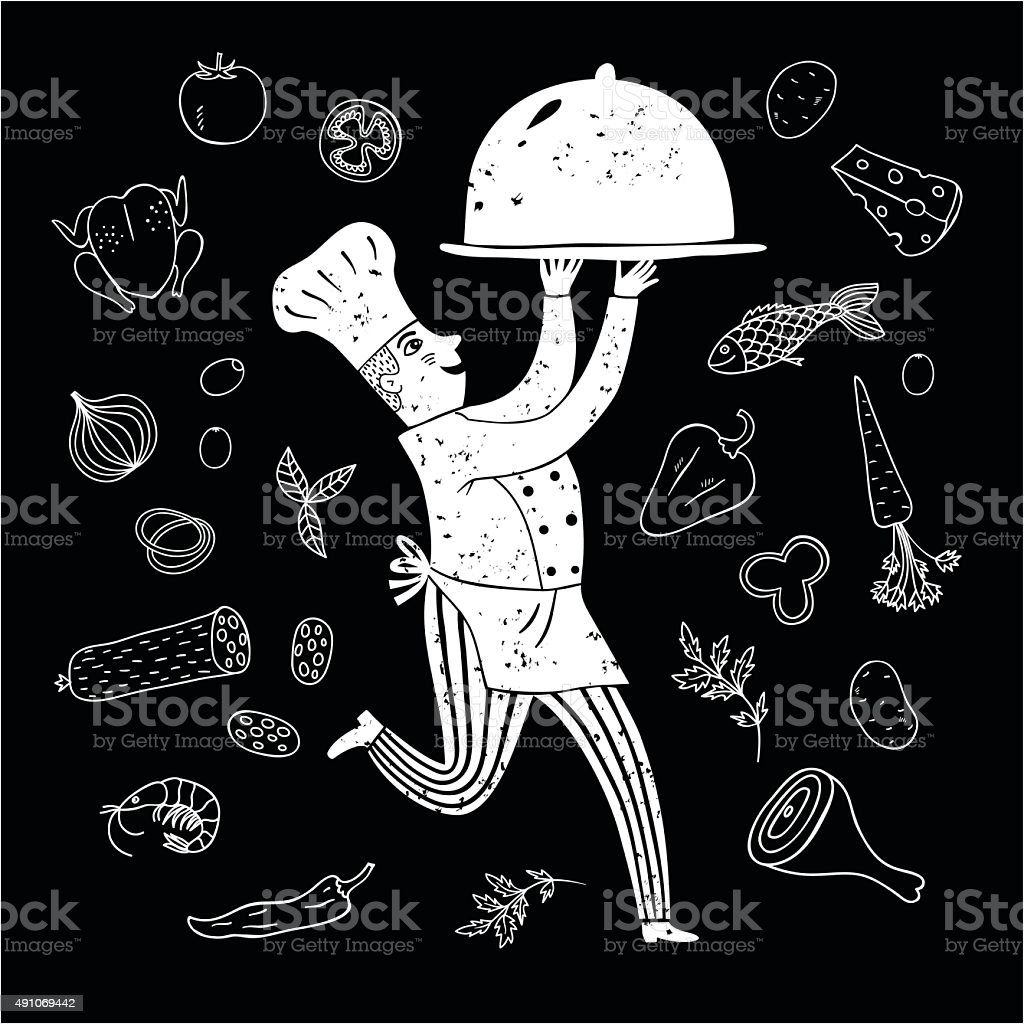 Hand drawn happy chief with doodle meal vector art illustration