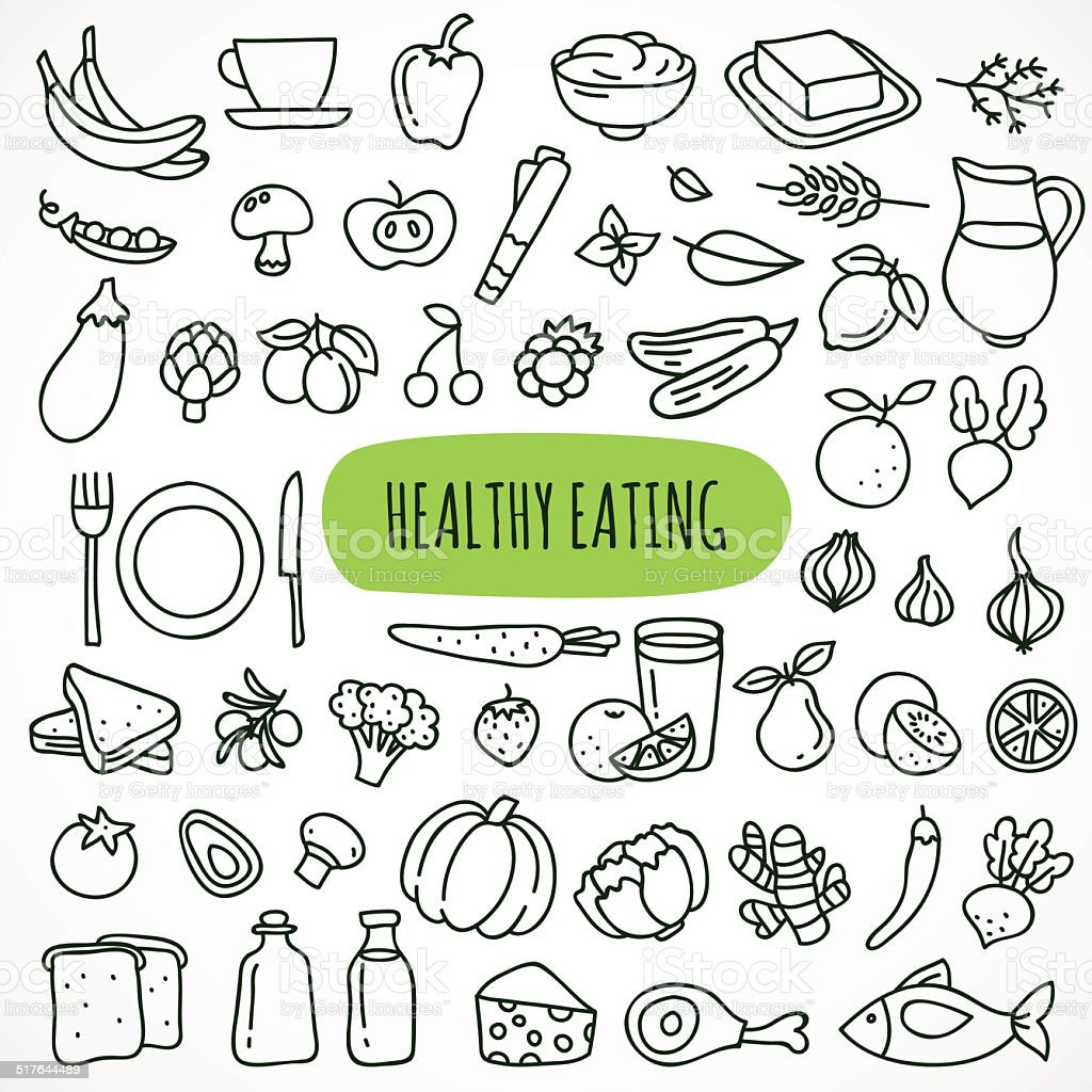 Hand drawn healthy eating icons vector art illustration