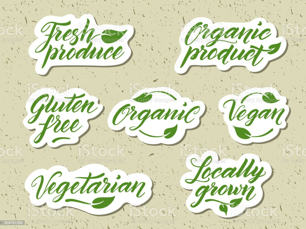 Hand drawn healthy food letterings. Label, logo template vector art illustration