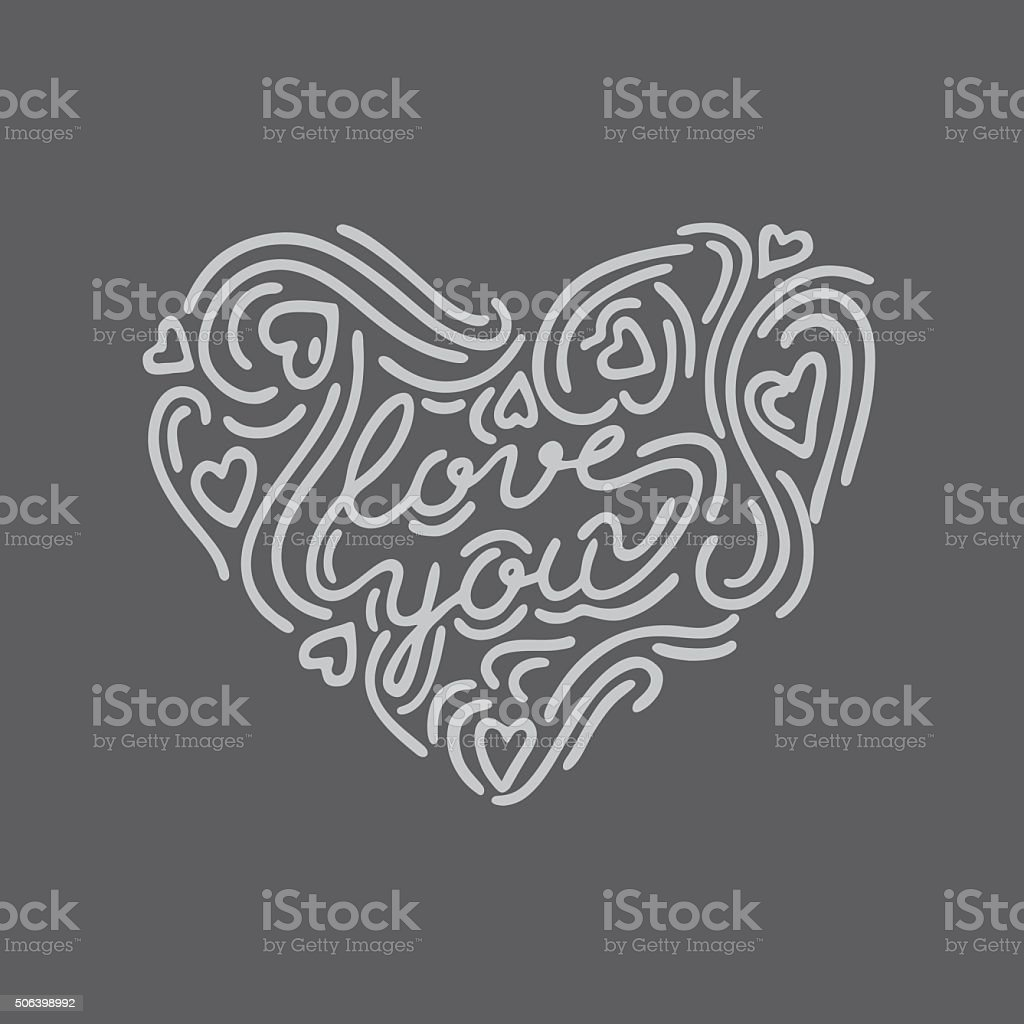 Hand drawn heart shape lettering 'Love you' in the centre vector art illustration