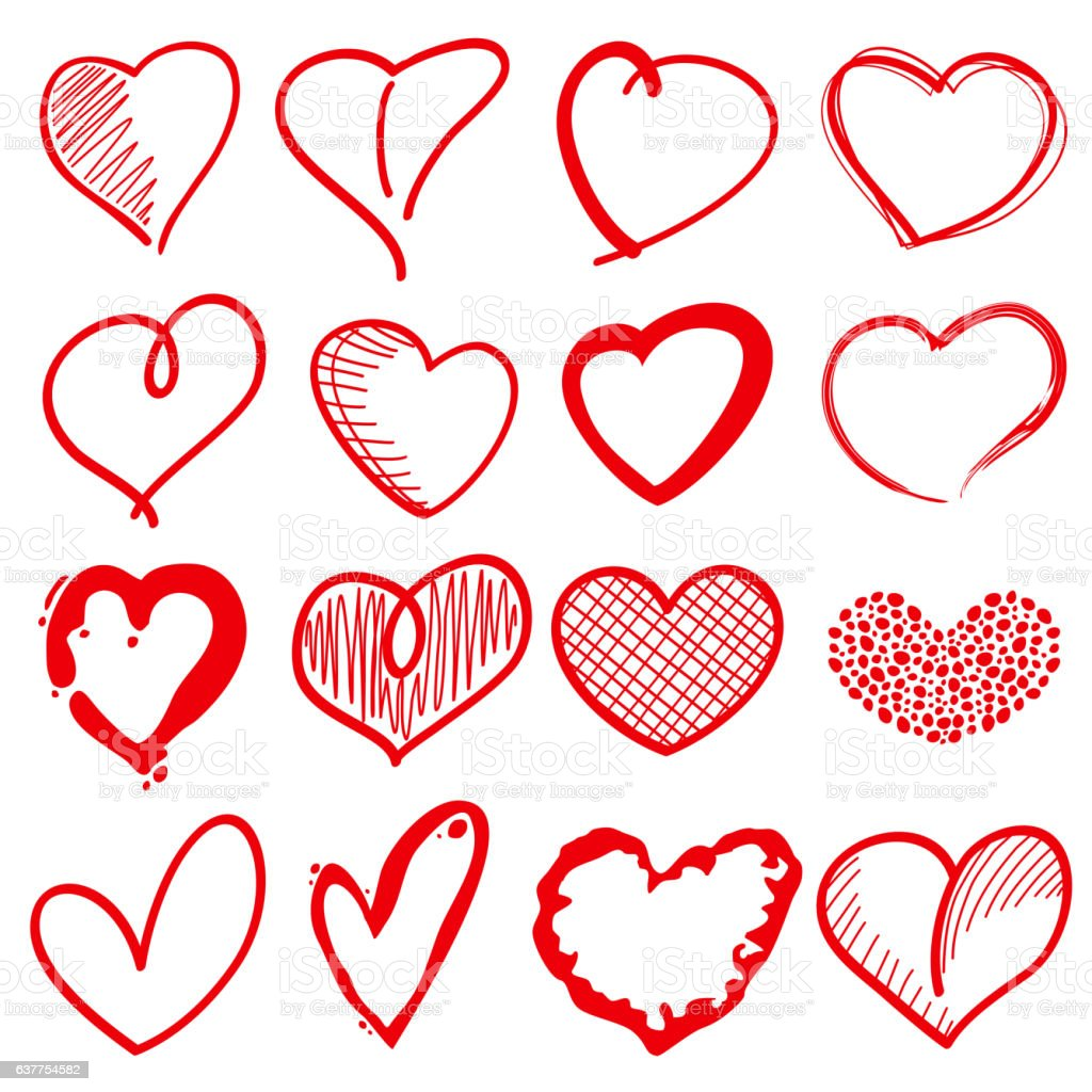 Hand drawn heart shapes, romance love doodle vector signs for vector art illustration