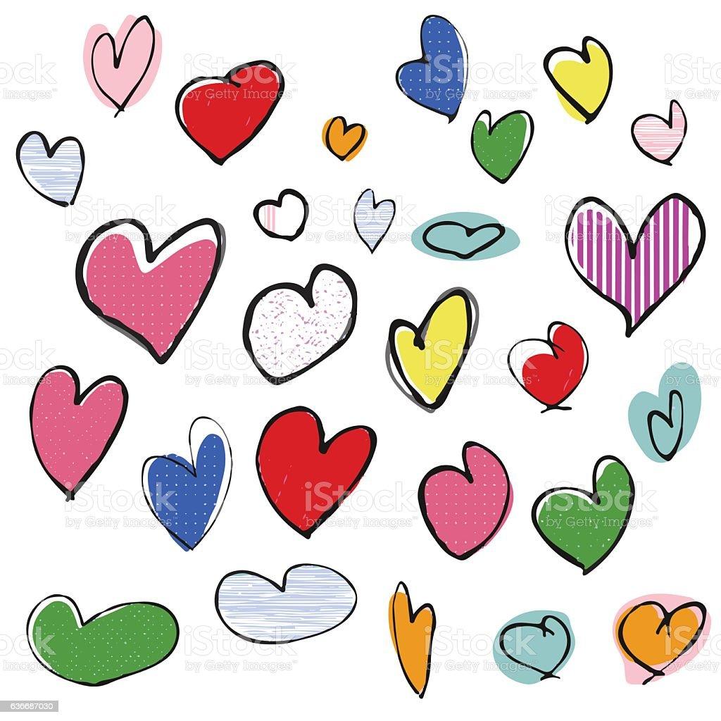 Hand drawn heart shapes vector art illustration