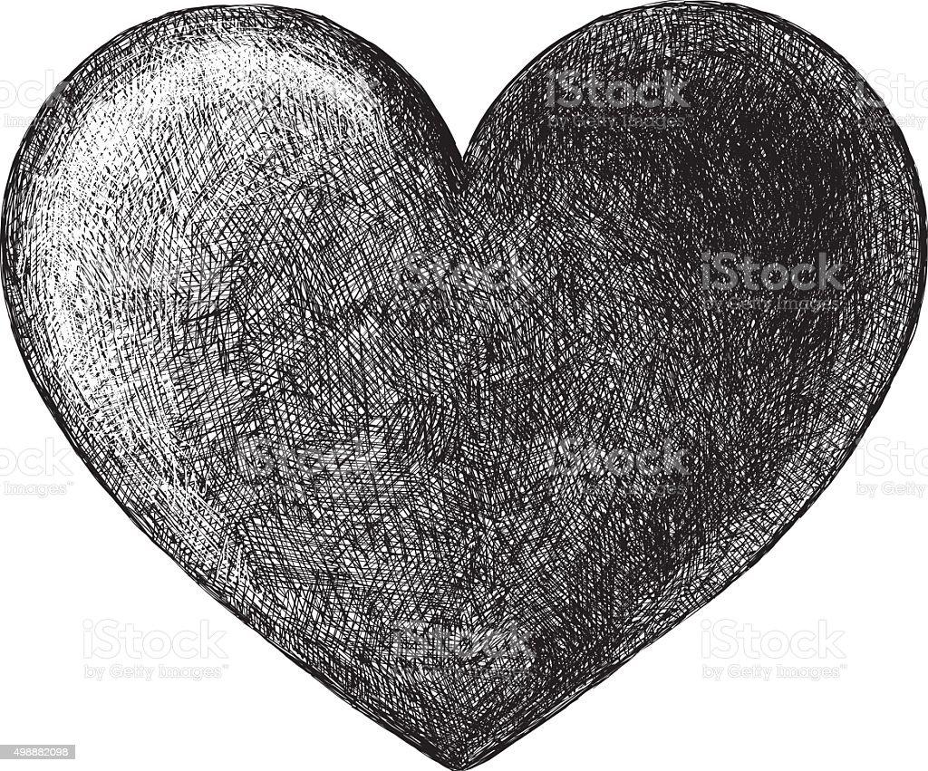 Hand Drawn Heart Symbol vector art illustration