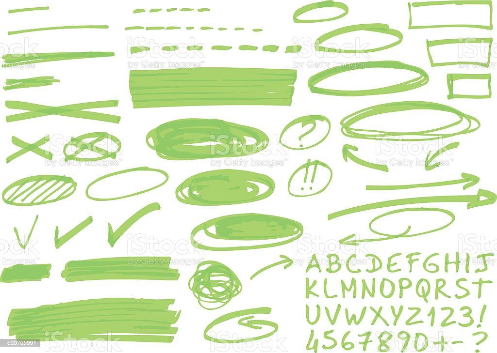 Hand drawn highlighter elements. vector art illustration
